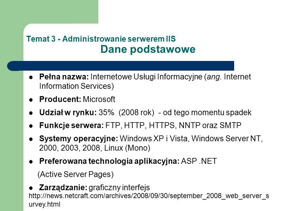 Temat 3 - Administrowanie serwerem IIS Dane podstawowe Pełna nazwa: Internetowe Usługi Informacyjne (ang. Internet Information Services) Producent: Mi