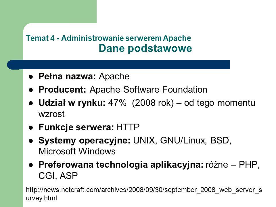 Temat 4 - Administrowanie serwerem Apache Dane podstawowe Pełna nazwa: Apache Producent: Apache Software Foundation Udział w rynku: 47% (2008 rok) – od tego momentu wzrost Funkcje serwera: HTTP Systemy operacyjne: UNIX, GNU/Linux, BSD, Microsoft Windows Preferowana technologia aplikacyjna: różne – PHP, CGI, ASP http://news.netcraft.com/archives/2008/09/30/september_2008_web_server_s urvey.html