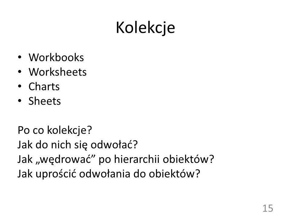 """Kolekcje Workbooks Worksheets Charts Sheets Po co kolekcje? Jak do nich się odwołać? Jak """"wędrować"""" po hierarchii obiektów? Jak uprościć odwołania do"""