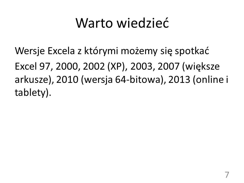 Warto wiedzieć Wersje Excela z którymi możemy się spotkać Excel 97, 2000, 2002 (XP), 2003, 2007 (większe arkusze), 2010 (wersja 64-bitowa), 2013 (onli