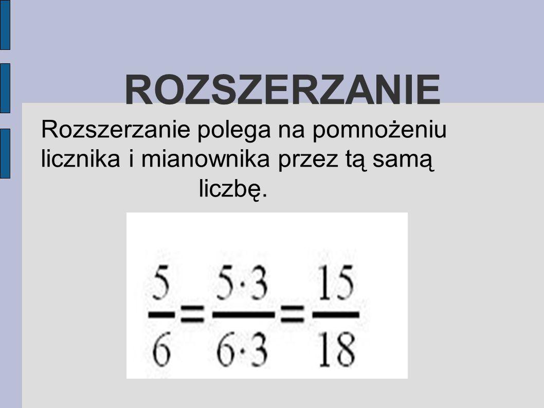 SKRACANIE Skracanie polega na podzieleniu licznika i mianownika przez tą samą liczbę.