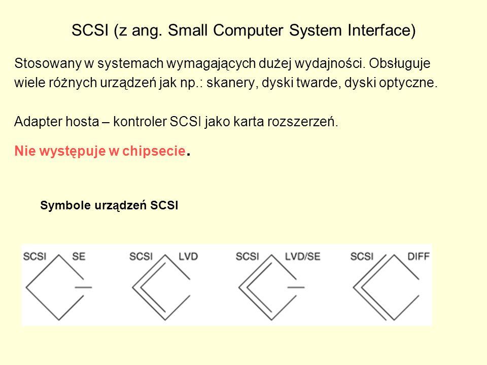 SCSI (z ang. Small Computer System Interface) Stosowany w systemach wymagających dużej wydajności. Obsługuje wiele różnych urządzeń jak np.: skanery,