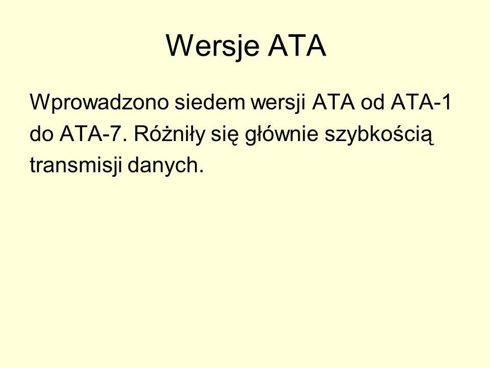 Wersje ATA Wprowadzono siedem wersji ATA od ATA-1 do ATA-7. Różniły się głównie szybkością transmisji danych.