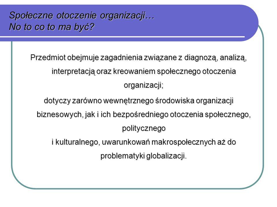 Społeczne otoczenie organizacji… No to co to ma być.