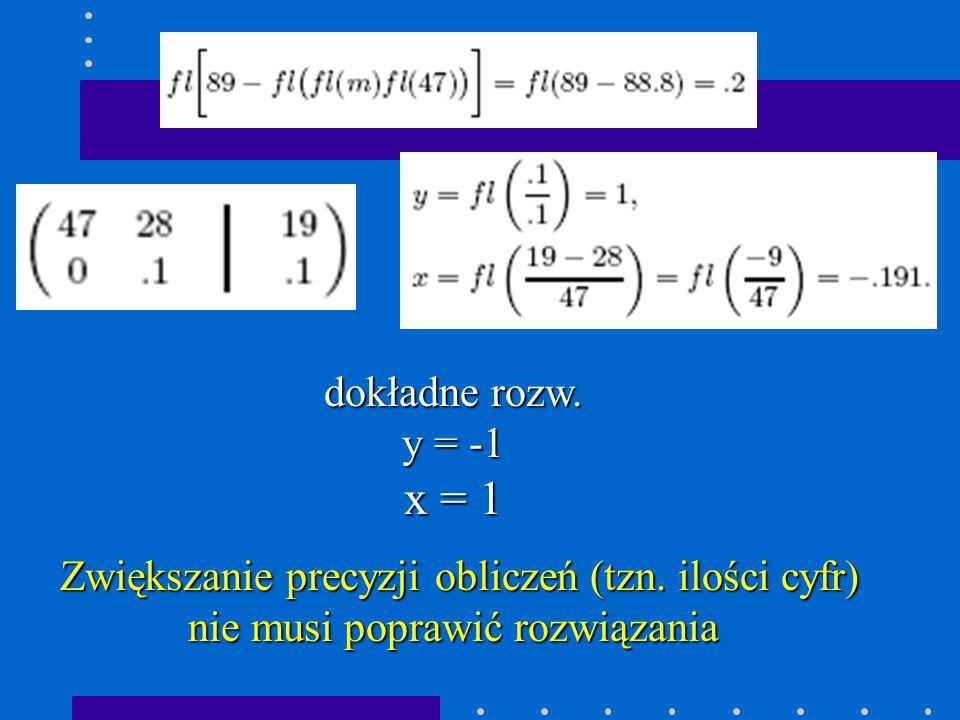 dokładne rozw.y = -1 x = 1 Zwiększanie precyzji obliczeń (tzn.