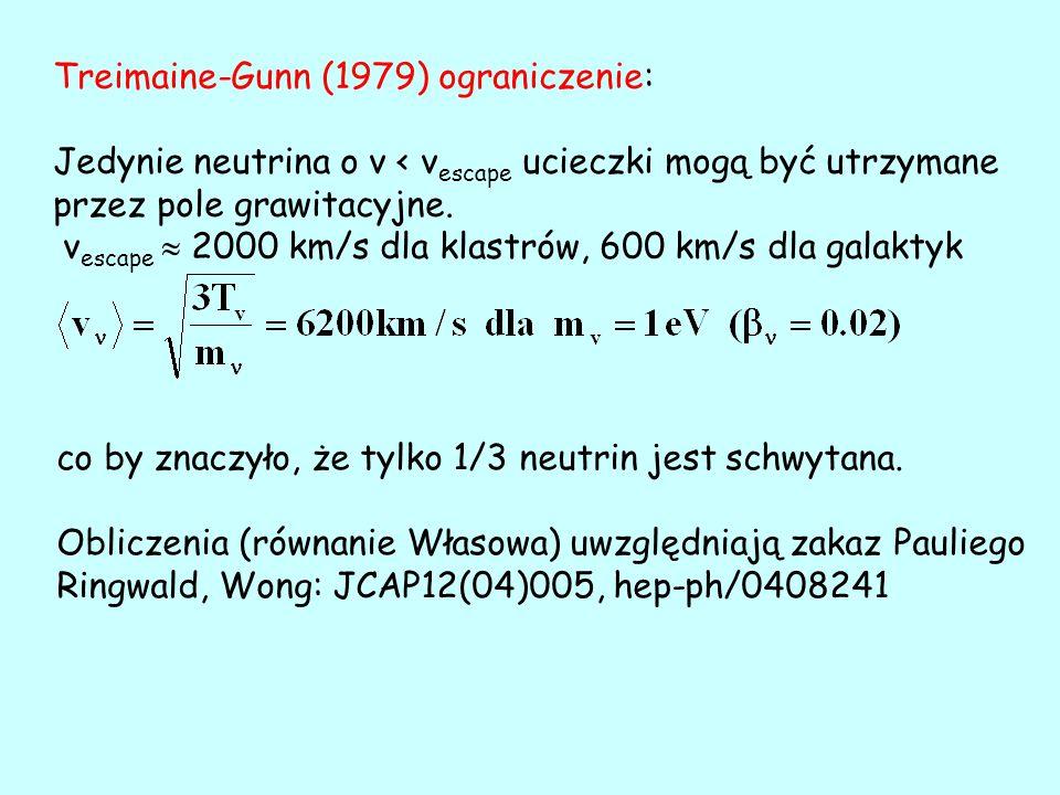 Treimaine-Gunn (1979) ograniczenie: Jedynie neutrina o v < v escape ucieczki mogą być utrzymane przez pole grawitacyjne.