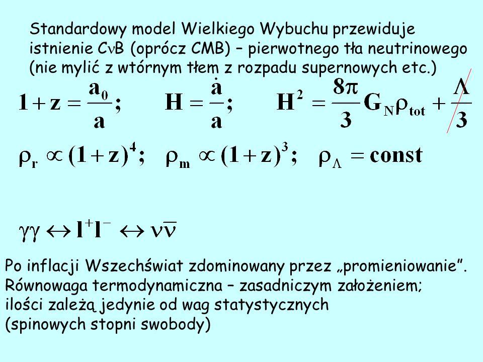 Rozkład termiczny: + bozony (fotony) – rozkład Bosego-Einsteina - fermiony – rozkład Fermiego-Diraca T=T 0 (1+z) E= E 0 (1+z) – kształt niezależny od czasu Potencjały chemiczne nieznane – zależą od praw zachowania Asymetria cząstka – antycząstka Dla C B    /T < 0.1; przyjmuje się = 0 (leptogeneza źródłem niezachowania B); Oscylacje dodatkowo zmniejszają potencjały chemiczne.