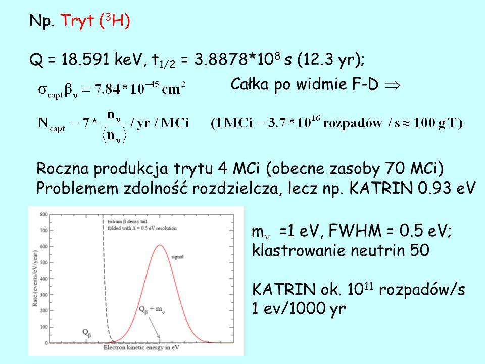 Np. Tryt ( 3 H) Q = 18.591 keV, t 1/2 = 3.8878*10 8 s (12.3 yr); Roczna produkcja trytu 4 MCi (obecne zasoby 70 MCi) Problemem zdolność rozdzielcza, l