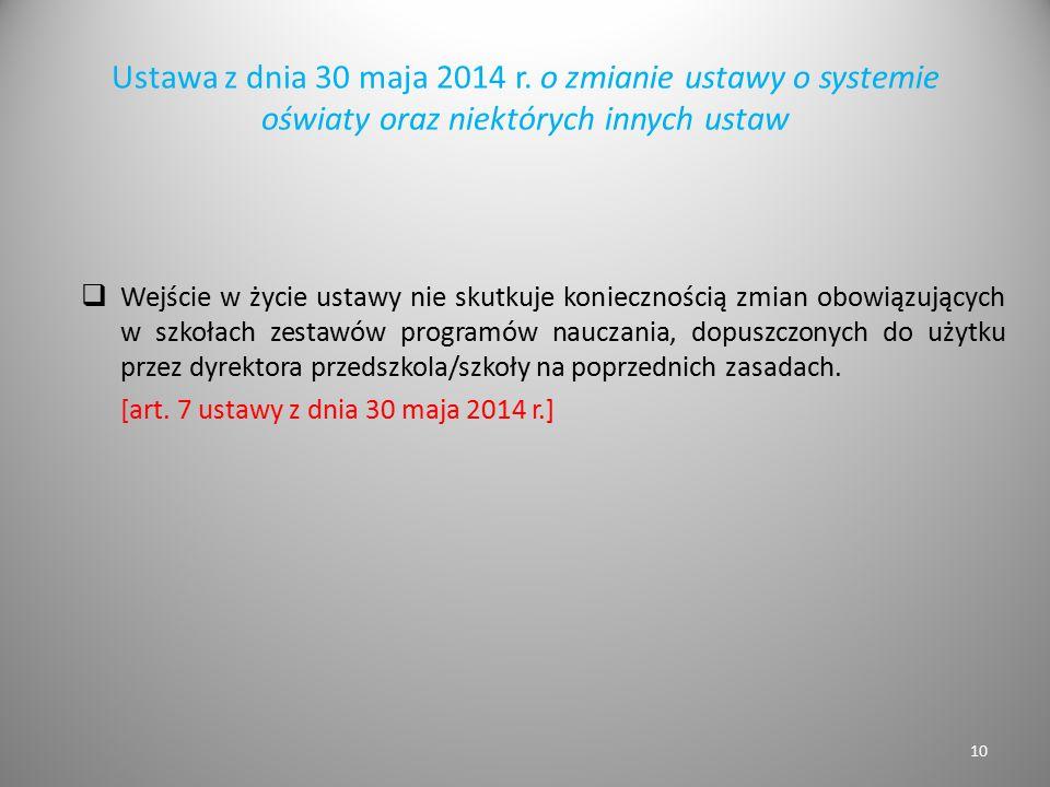 Ustawa z dnia 30 maja 2014 r. o zmianie ustawy o systemie oświaty oraz niektórych innych ustaw  Wejście w życie ustawy nie skutkuje koniecznością zmi