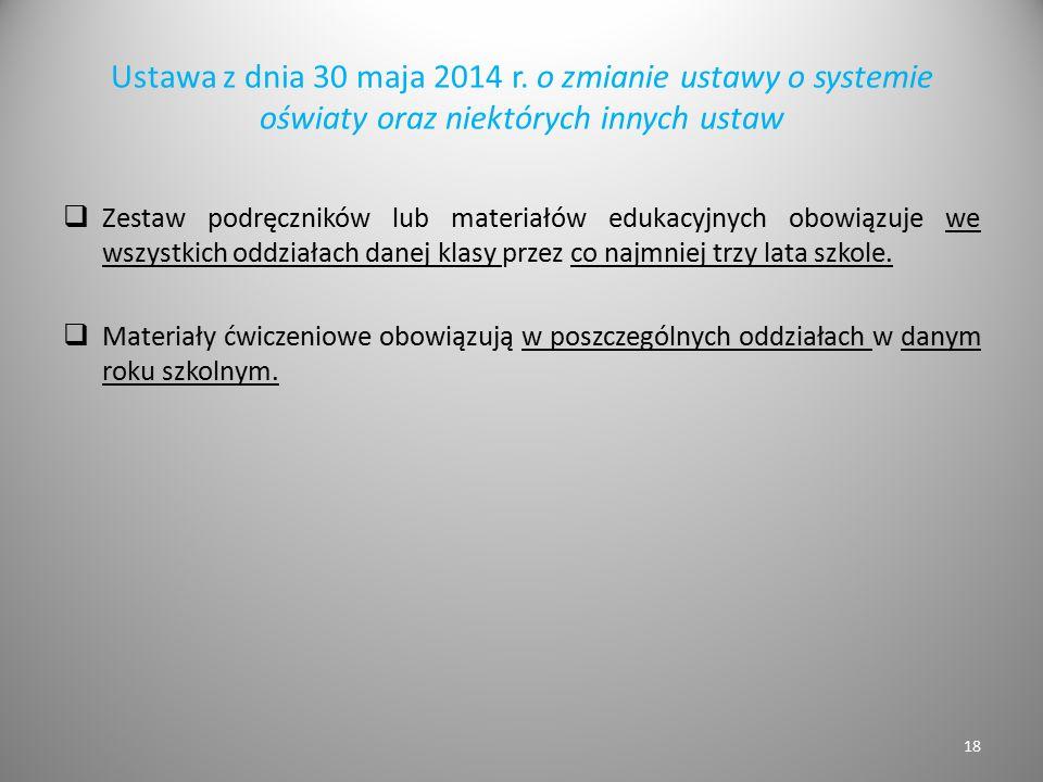 Ustawa z dnia 30 maja 2014 r. o zmianie ustawy o systemie oświaty oraz niektórych innych ustaw  Zestaw podręczników lub materiałów edukacyjnych obowi