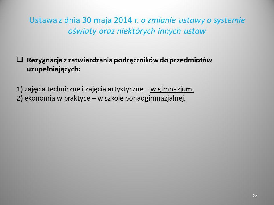 Ustawa z dnia 30 maja 2014 r. o zmianie ustawy o systemie oświaty oraz niektórych innych ustaw  Rezygnacja z zatwierdzania podręczników do przedmiotó