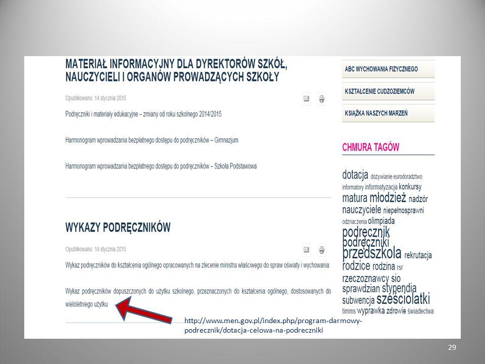 29 http://www.men.gov.pl/index.php/program-darmowy- podrecznik/dotacja-celowa-na-podreczniki
