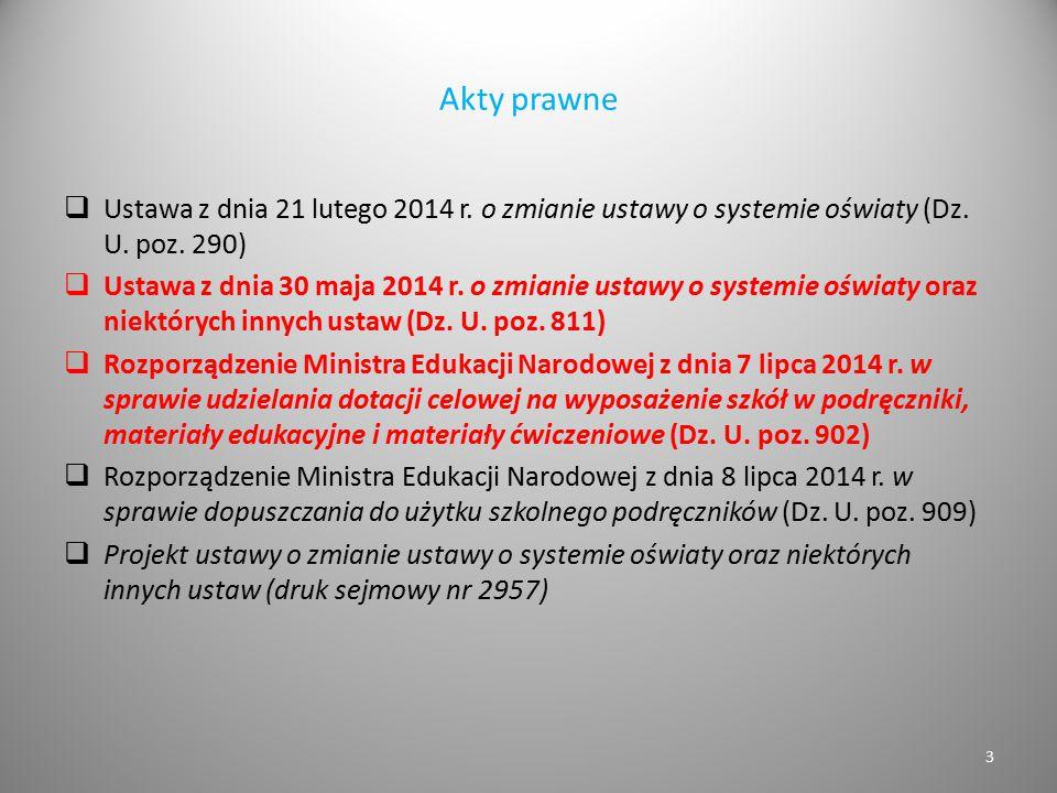 Akty prawne  Ustawa z dnia 21 lutego 2014 r. o zmianie ustawy o systemie oświaty (Dz. U. poz. 290)  Ustawa z dnia 30 maja 2014 r. o zmianie ustawy o