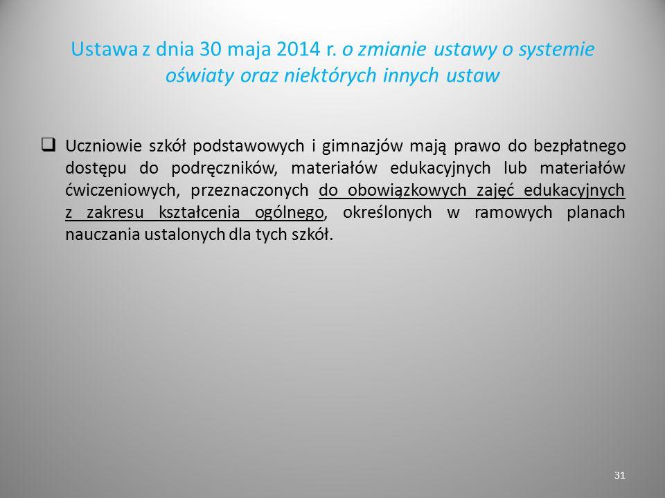 Ustawa z dnia 30 maja 2014 r. o zmianie ustawy o systemie oświaty oraz niektórych innych ustaw  Uczniowie szkół podstawowych i gimnazjów mają prawo d