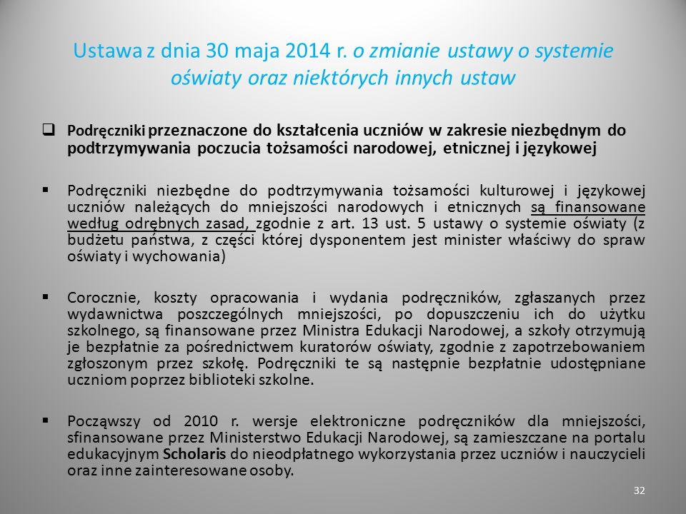 Ustawa z dnia 30 maja 2014 r. o zmianie ustawy o systemie oświaty oraz niektórych innych ustaw  Podręczniki przeznaczone do kształcenia uczniów w zak
