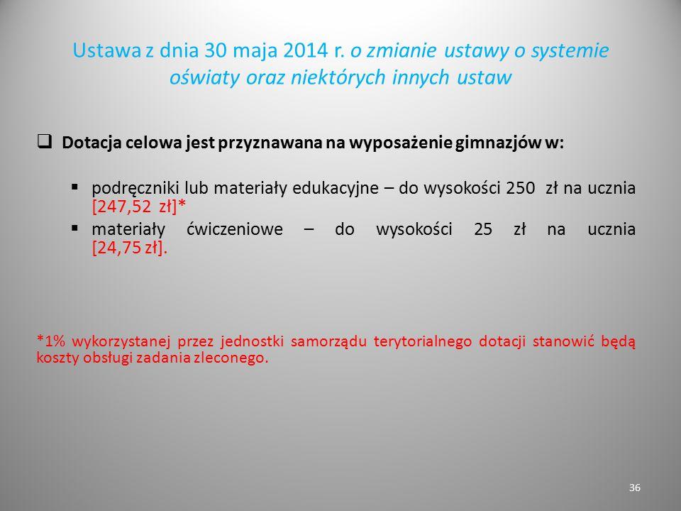 Ustawa z dnia 30 maja 2014 r. o zmianie ustawy o systemie oświaty oraz niektórych innych ustaw  Dotacja celowa jest przyznawana na wyposażenie gimnaz