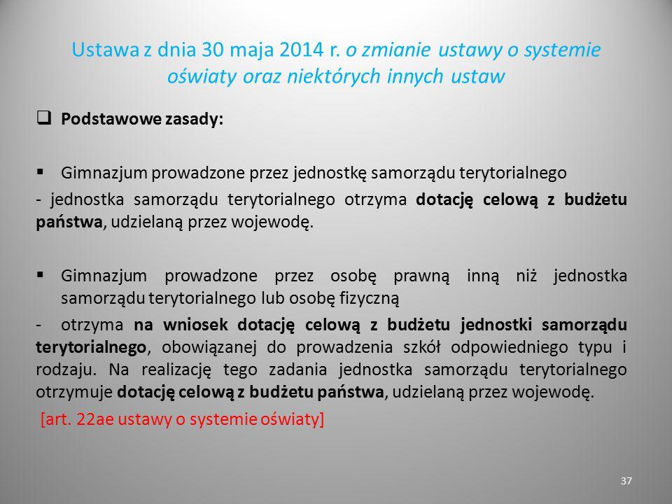 Ustawa z dnia 30 maja 2014 r. o zmianie ustawy o systemie oświaty oraz niektórych innych ustaw  Podstawowe zasady:  Gimnazjum prowadzone przez jedno