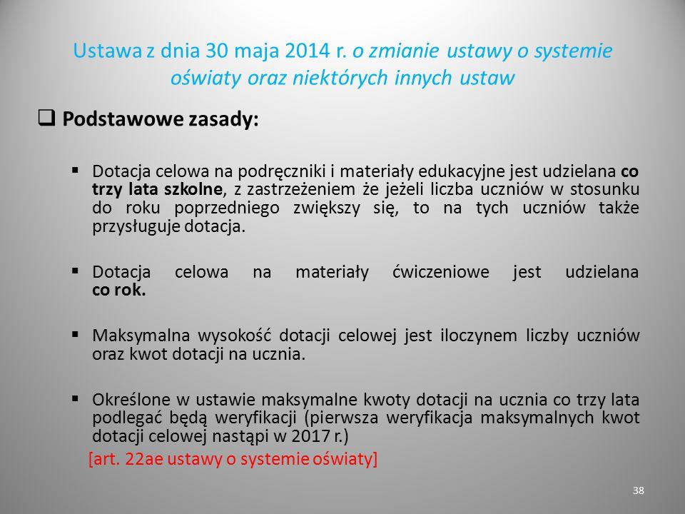 Ustawa z dnia 30 maja 2014 r. o zmianie ustawy o systemie oświaty oraz niektórych innych ustaw  Podstawowe zasady:  Dotacja celowa na podręczniki i