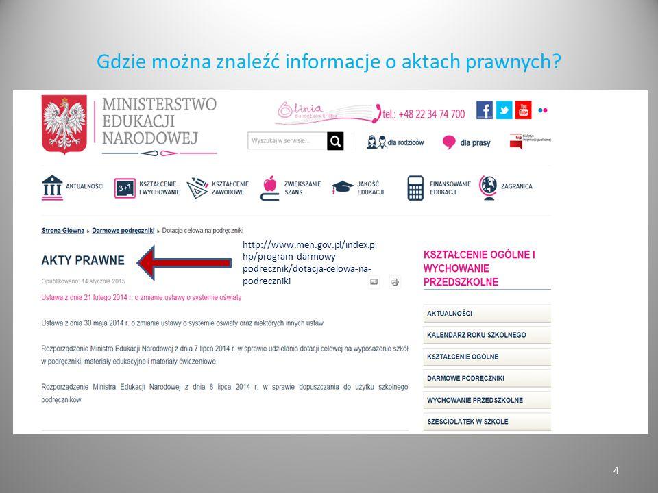 Gdzie można znaleźć informacje o aktach prawnych? Tutaj zrzut strony MEN z zaznaczoną zakładką Akty prawne 4 http://www.men.gov.pl/index.p hp/program-