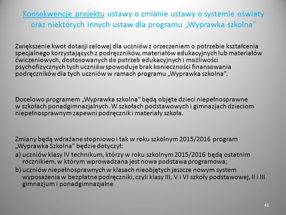 """Konsekwencje projektu ustawy o zmianie ustawy o systemie oświaty oraz niektórych innych ustaw dla programu """"Wyprawka szkolna"""" Zwiększenie kwot dotacji"""
