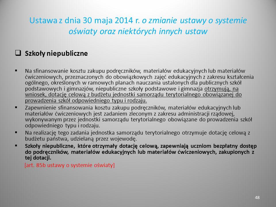 Ustawa z dnia 30 maja 2014 r. o zmianie ustawy o systemie oświaty oraz niektórych innych ustaw  Szkoły niepubliczne  Na sfinansowanie kosztu zakupu
