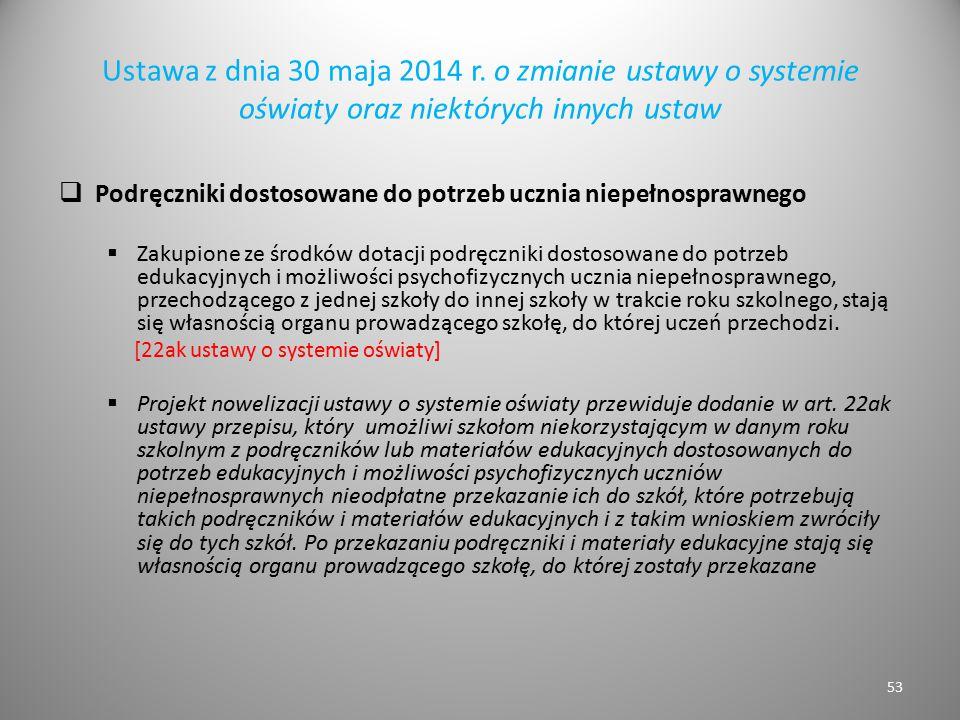 Ustawa z dnia 30 maja 2014 r. o zmianie ustawy o systemie oświaty oraz niektórych innych ustaw  Podręczniki dostosowane do potrzeb ucznia niepełnospr