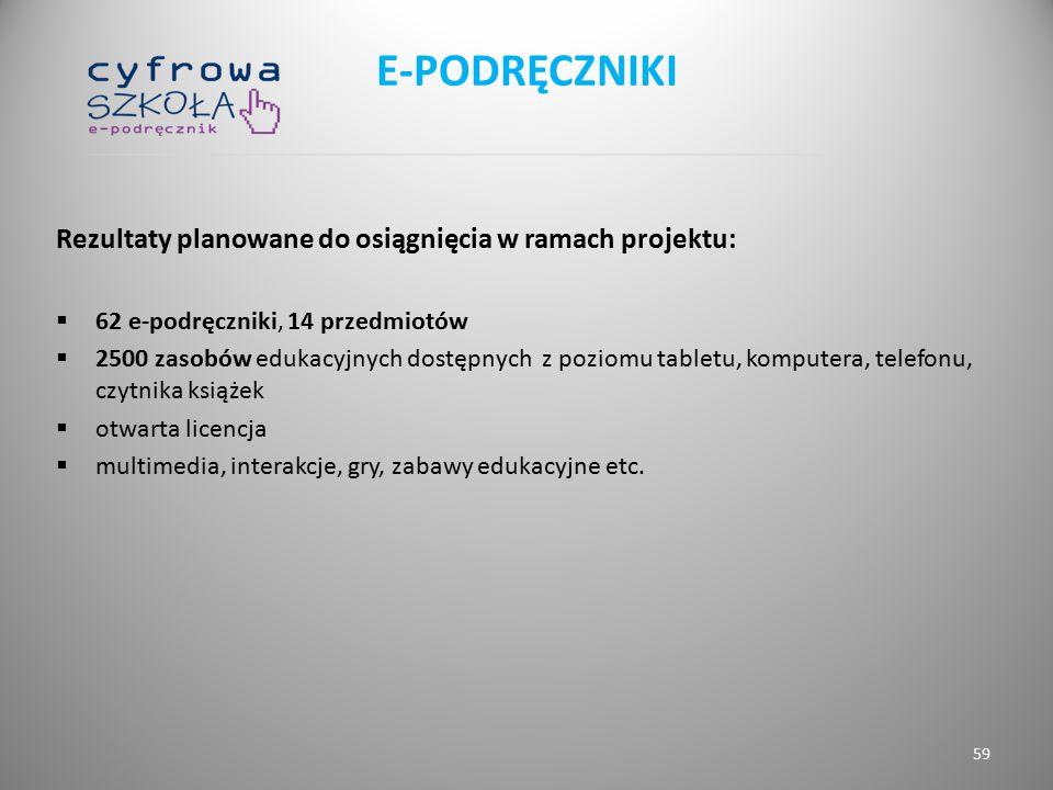 Rezultaty planowane do osiągnięcia w ramach projektu:  62 e-podręczniki, 14 przedmiotów  2500 zasobów edukacyjnych dostępnych z poziomu tabletu, kom