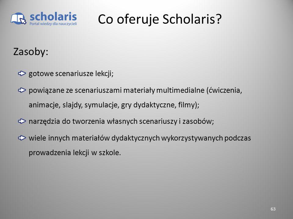 Co oferuje Scholaris? gotowe scenariusze lekcji; powiązane ze scenariuszami materiały multimedialne (ćwiczenia, animacje, slajdy, symulacje, gry dydak