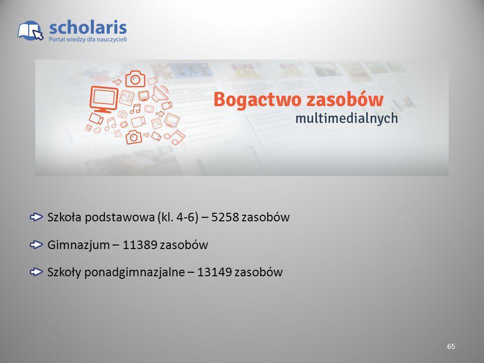 Szkoła podstawowa (kl. 4-6) – 5258 zasobów Gimnazjum – 11389 zasobów Szkoły ponadgimnazjalne – 13149 zasobów 65