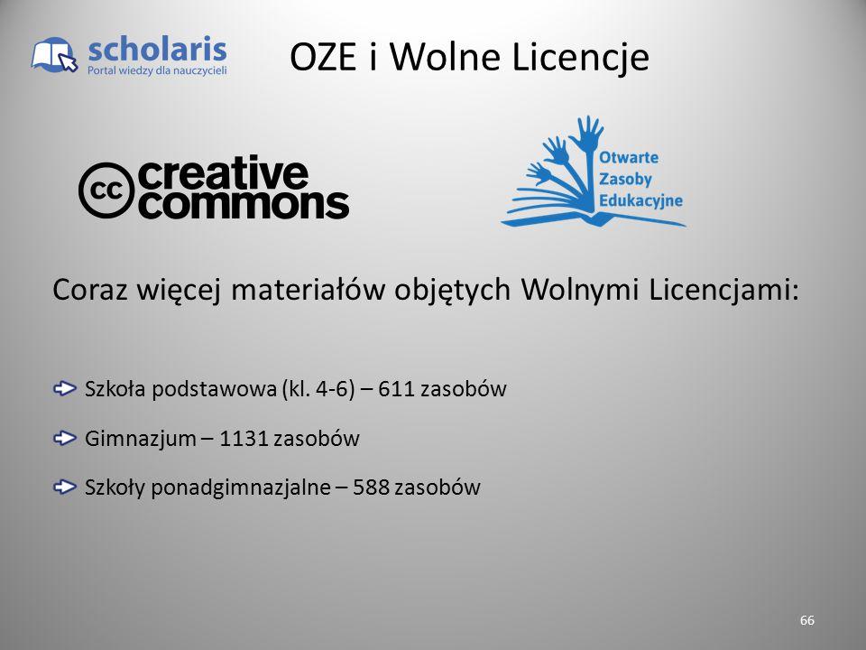 OZE i Wolne Licencje Szkoła podstawowa (kl. 4-6) – 611 zasobów Gimnazjum – 1131 zasobów Szkoły ponadgimnazjalne – 588 zasobów Coraz więcej materiałów
