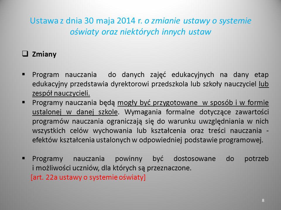 Ustawa z dnia 30 maja 2014 r. o zmianie ustawy o systemie oświaty oraz niektórych innych ustaw  Zmiany  Program nauczania do danych zajęć edukacyjny