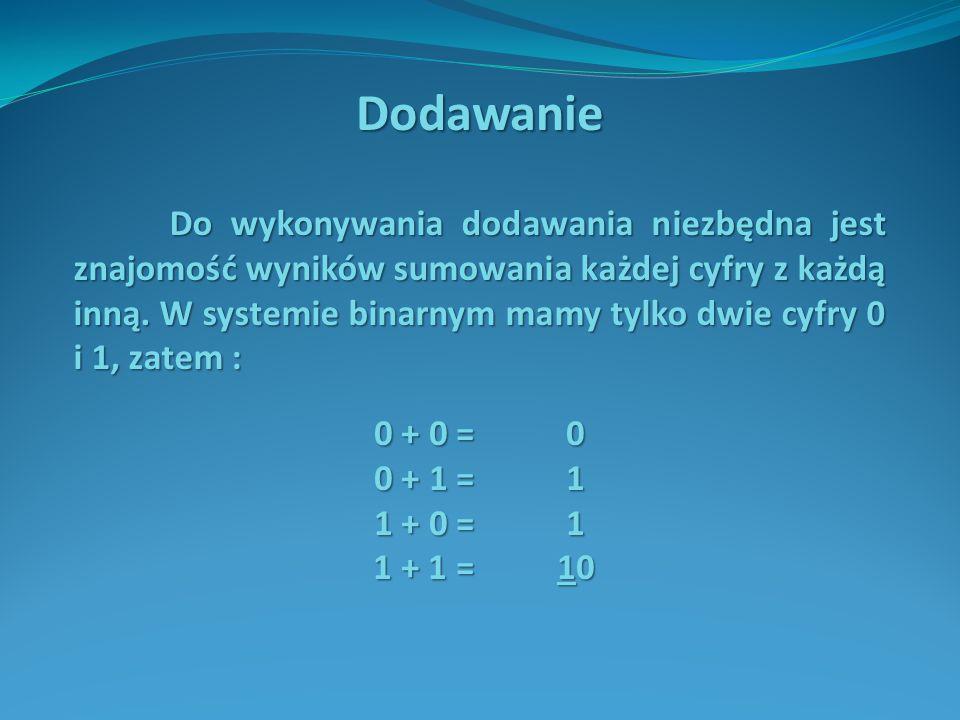Przykład Zsumować liczby binarne 1111001(2) oraz 10010(2).