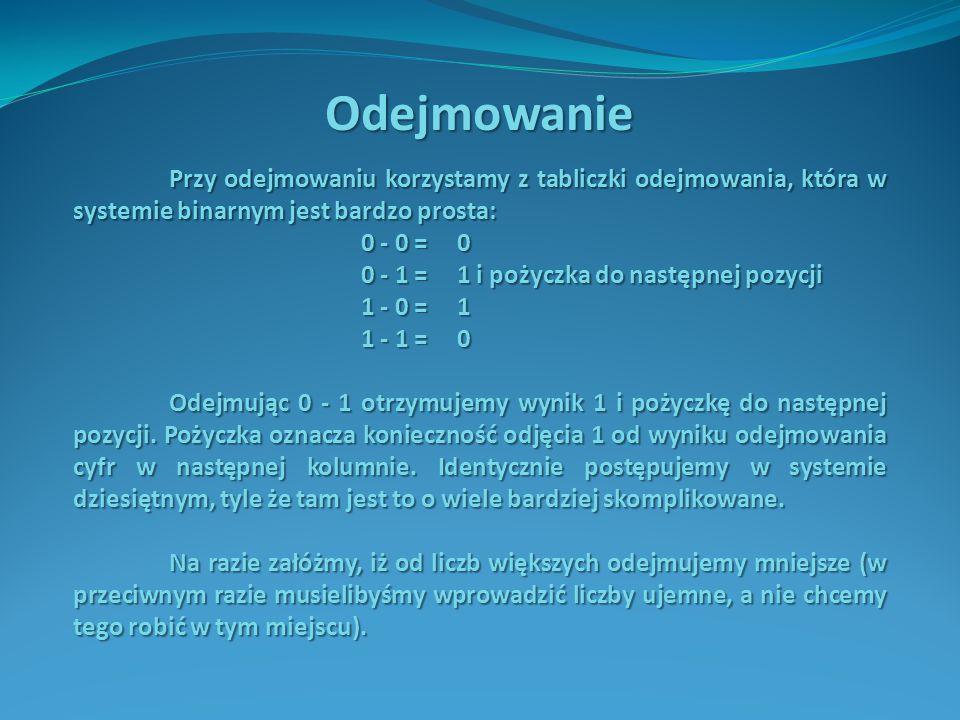Przykład Wykonać odejmowanie w systemie binarnym 1101110(2) - 1111(2) 1.Obie liczby umieszczamy jedna pod drugą tak, aby ich cyfry znalazły się w kolumnach o tych samych wagach: 1101110 - 1111 - 1111 2.Odejmowanie rozpoczynamy od cyfr ostatniej kolumny.