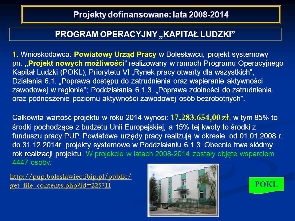 """Projekty dofinansowane: lata 2008-2014 PROGRAM OPERACYJNY """"KAPITAŁ LUDZKI POKL 1."""