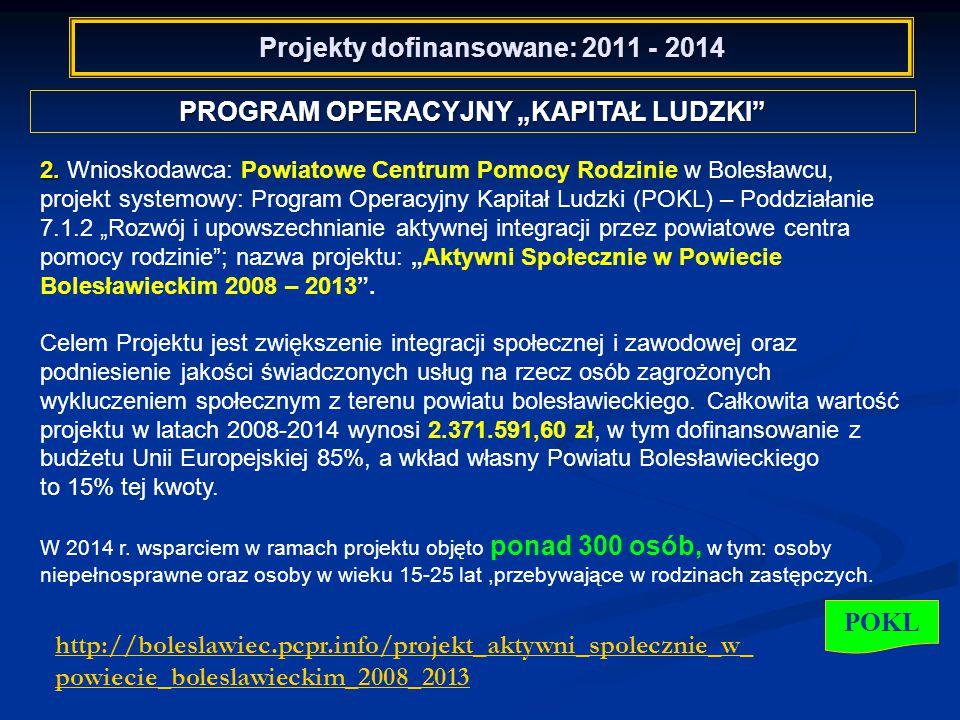 """Projekty dofinansowane: 2011 - 2014 PROGRAM OPERACYJNY """"KAPITAŁ LUDZKI POKL 2."""