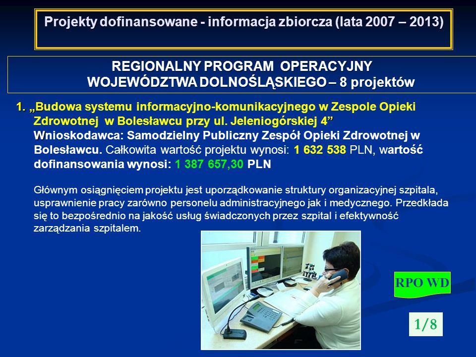 Projekty dofinansowane - informacja zbiorcza (lata 2007 – 2013) REGIONALNY PROGRAM OPERACYJNY WOJEWÓDZTWA DOLNOŚLĄSKIEGO – 8 projektów RPO WD 2/8 2.