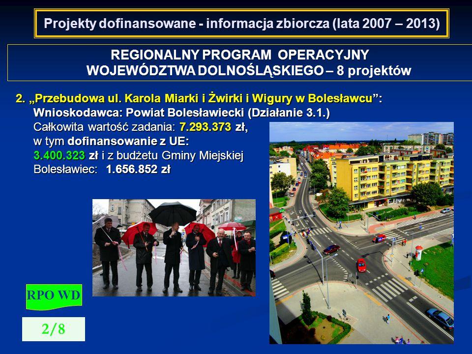 Projekty dofinansowane - informacja zbiorcza (lata 2007 – 2013) REGIONALNY PROGRAM OPERACYJNY WOJEWÓDZTWA DOLNOŚLĄSKIEGO – 8 projektów RPO WD 3/8 3.