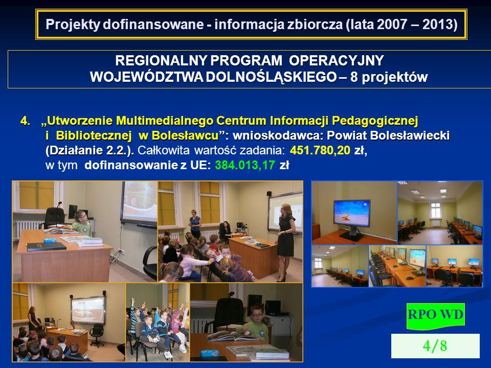 Projekty dofinansowane - informacja zbiorcza (lata 2007 – 2013) REGIONALNY PROGRAM OPERACYJNY WOJEWÓDZTWA DOLNOŚLĄSKIEGO – 8 projektów RPO WD 4/8 4.