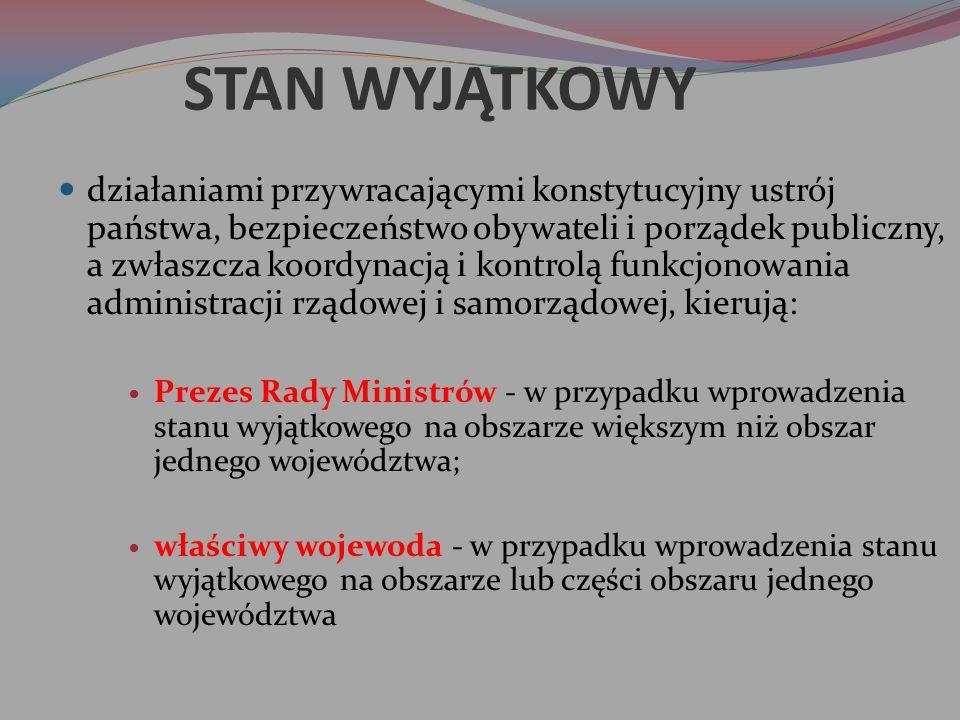 STAN WYJĄTKOWY działaniami przywracającymi konstytucyjny ustrój państwa, bezpieczeństwo obywateli i porządek publiczny, a zwłaszcza koordynacją i kont