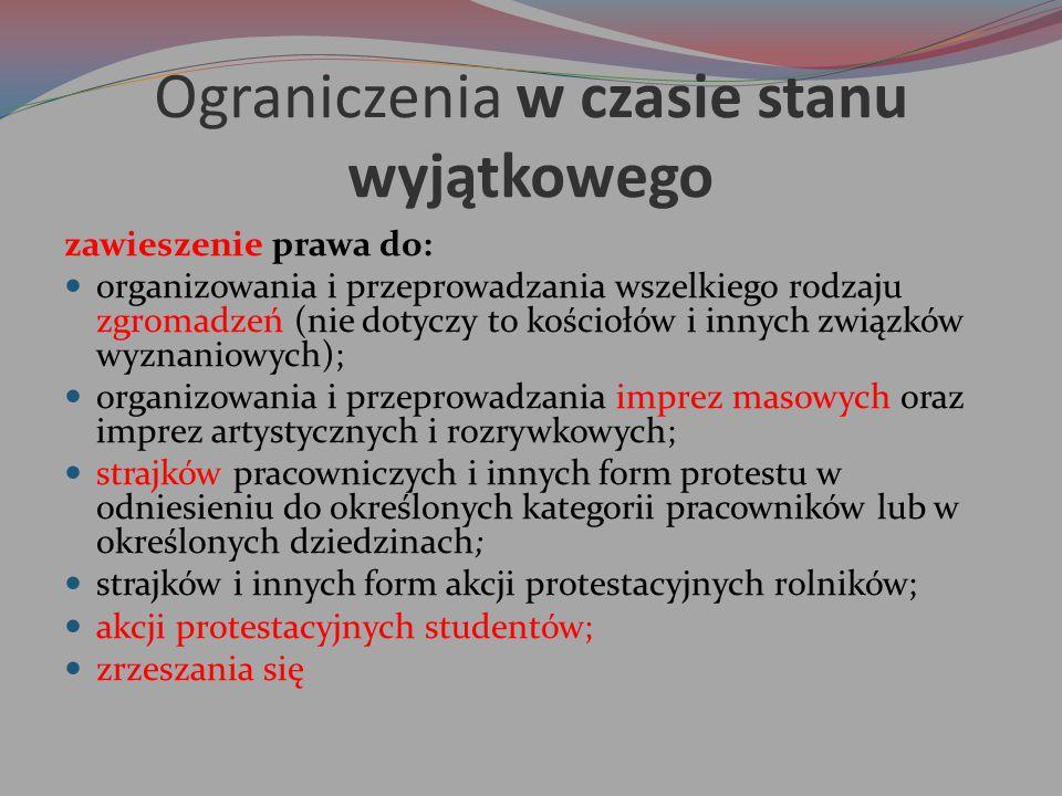 Ograniczenia w czasie stanu wyjątkowego zawieszenie prawa do: organizowania i przeprowadzania wszelkiego rodzaju zgromadzeń (nie dotyczy to kościołów