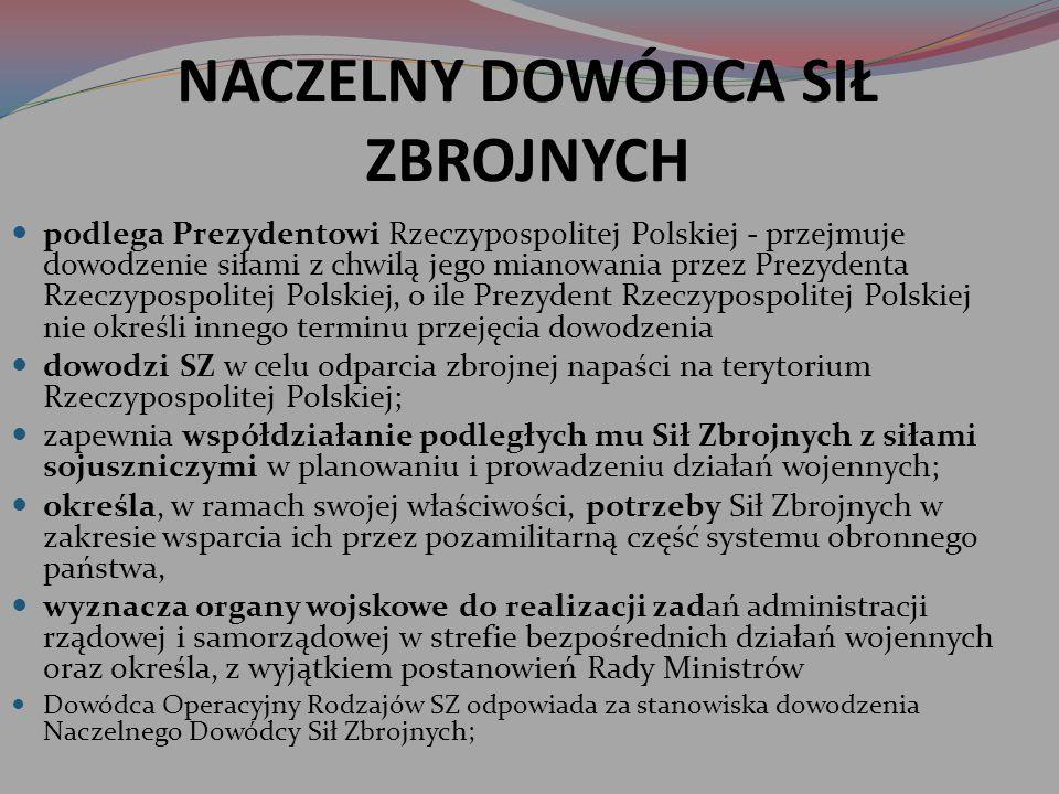 NACZELNY DOWÓDCA SIŁ ZBROJNYCH podlega Prezydentowi Rzeczypospolitej Polskiej - przejmuje dowodzenie siłami z chwilą jego mianowania przez Prezydenta