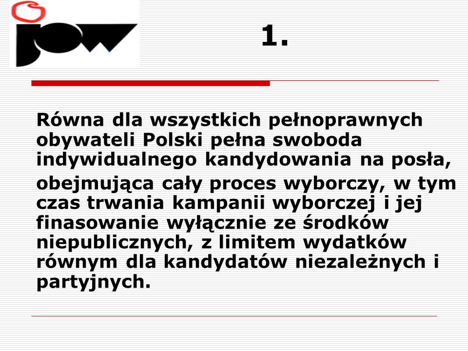 1. Równa dla wszystkich pełnoprawnych obywateli Polski pełna swoboda indywidualnego kandydowania na posła, obejmująca cały proces wyborczy, w tym czas
