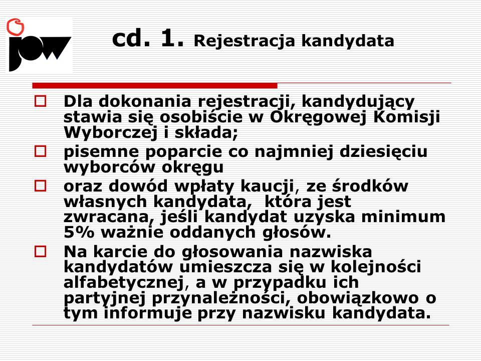cd. 1. Rejestracja kandydata  Dla dokonania rejestracji, kandydujący stawia się osobiście w Okręgowej Komisji Wyborczej i składa;  pisemne poparcie