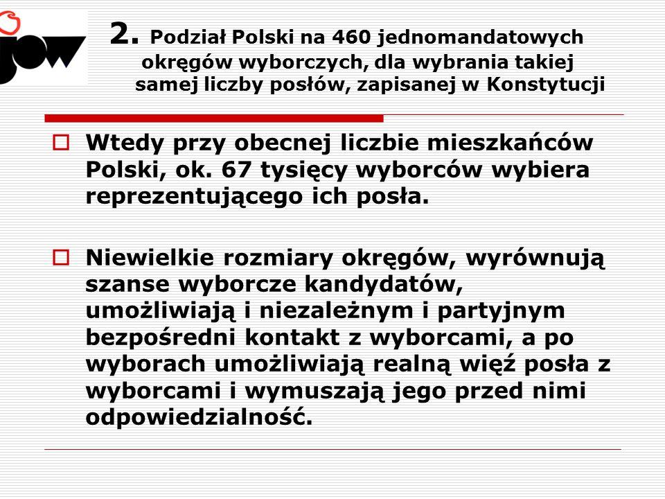 2. Podział Polski na 460 jednomandatowych okręgów wyborczych, dla wybrania takiej samej liczby posłów, zapisanej w Konstytucji  Wtedy przy obecnej li