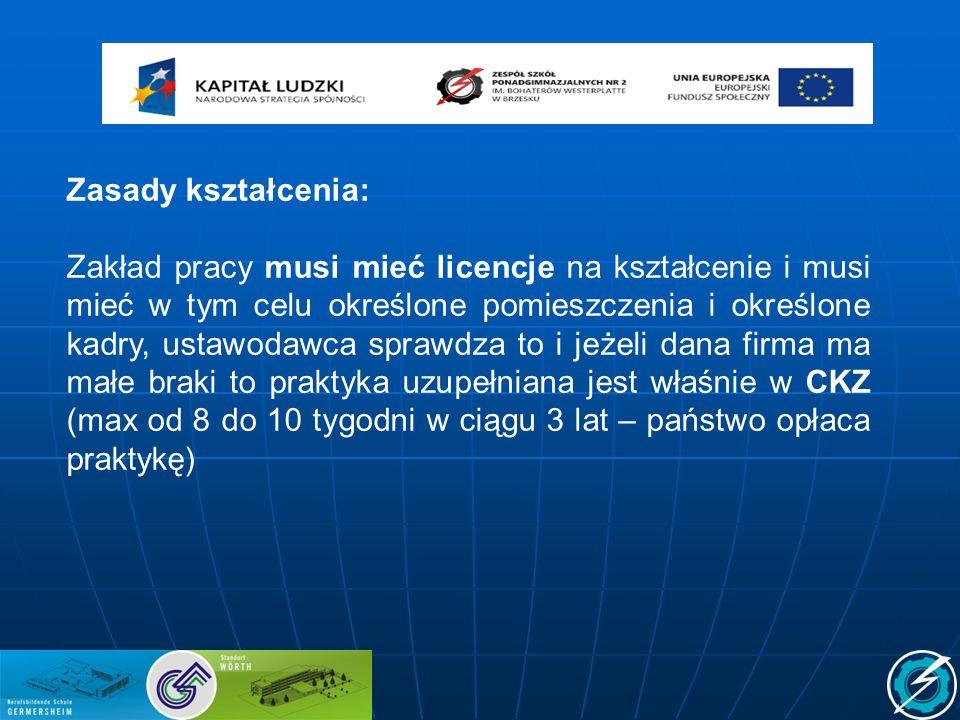 Zasady kształcenia: Zakład pracy musi mieć licencje na kształcenie i musi mieć w tym celu określone pomieszczenia i określone kadry, ustawodawca spraw