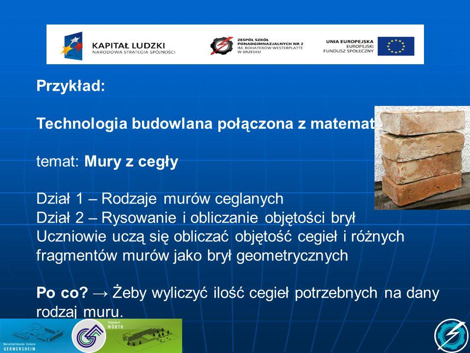 Przykład: Technologia budowlana połączona z matematyką temat: Mury z cegły Dział 1 – Rodzaje murów ceglanych Dział 2 – Rysowanie i obliczanie objętośc