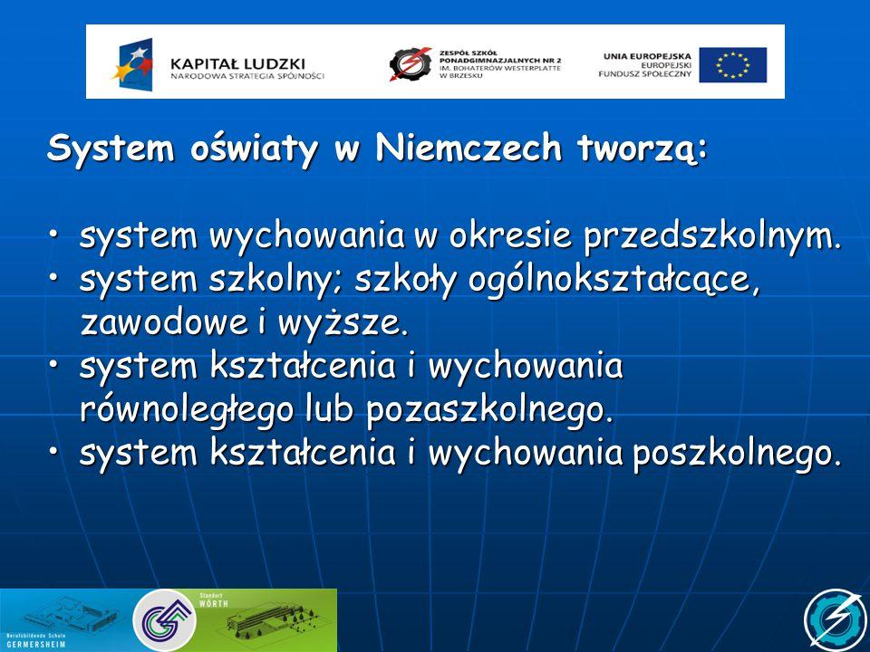 System oświaty w Niemczech tworzą: system wychowania w okresie przedszkolnym.system wychowania w okresie przedszkolnym. system szkolny; szkoły ogólnok