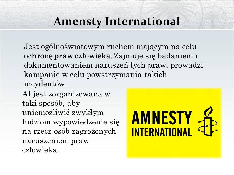 Amensty International Jest ogólnoświatowym ruchem mającym na celu ochronę praw człowieka. Zajmuje się badaniem i dokumentowaniem naruszeń tych praw, p