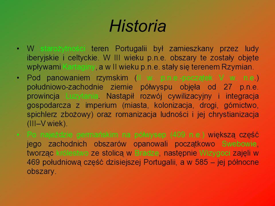Historia W starożytności teren Portugalii był zamieszkany przez ludy iberyjskie i celtyckie. W III wieku p.n.e. obszary te zostały objęte wpływami Kar