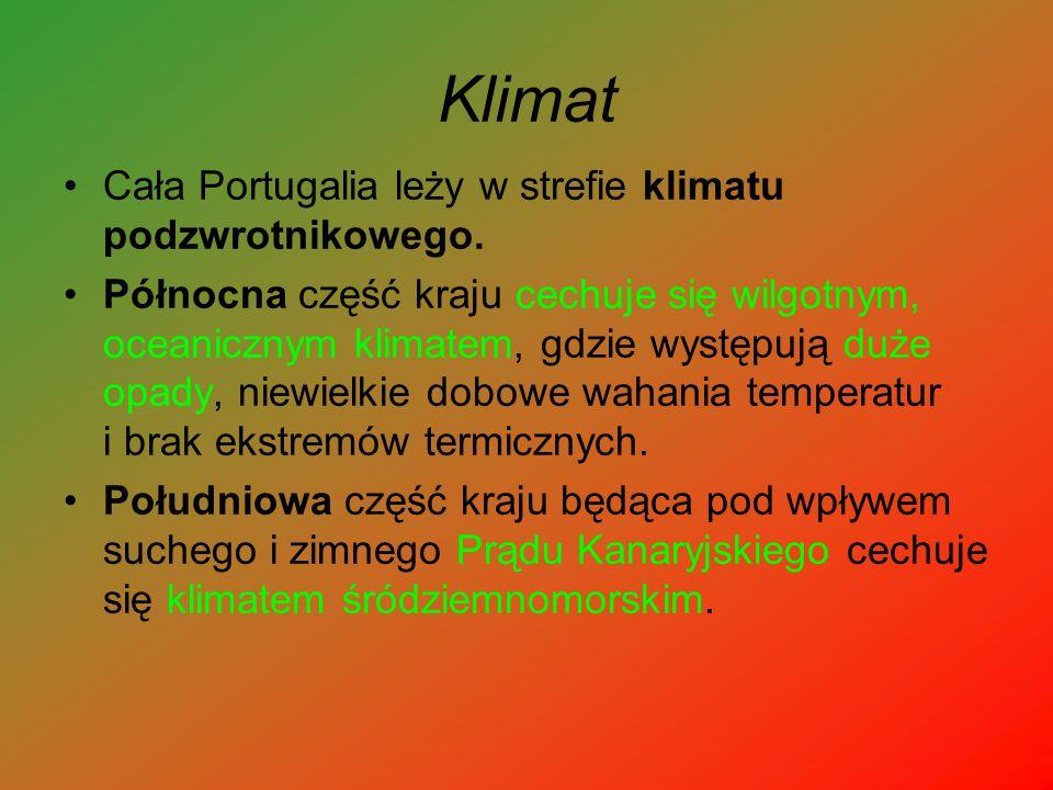 Klimat Cała Portugalia leży w strefie klimatu podzwrotnikowego. Północna część kraju cechuje się wilgotnym, oceanicznym klimatem, gdzie występują duże